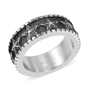 Black Oxidized Stainless Steel Eternity Band Men's